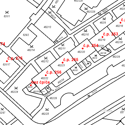Katastrální mapa Stavební objekt Frýdek 255, Frýdek-Místek