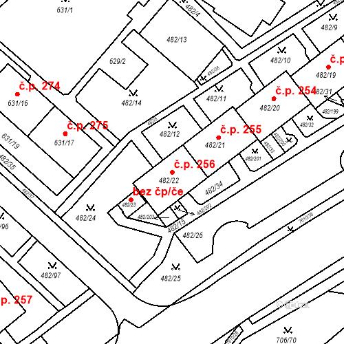 Katastrální mapa Stavební objekt Frýdek 256, Frýdek-Místek