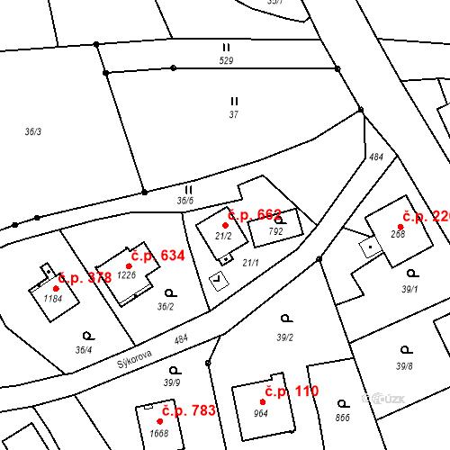 Katastrální mapa Stavební objekt Heřmanice 662, Ostrava