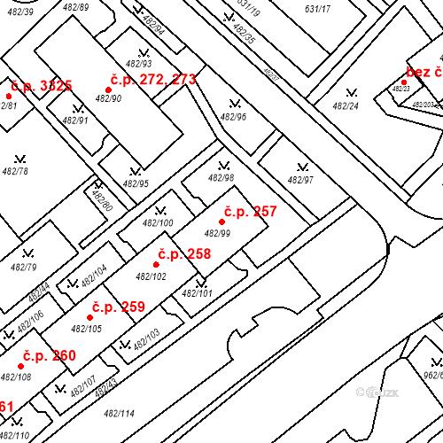 Katastrální mapa Stavební objekt Frýdek 257, Frýdek-Místek