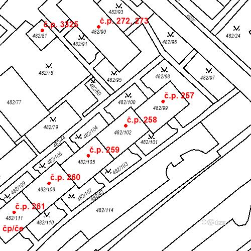 Katastrální mapa Stavební objekt Frýdek 258, Frýdek-Místek