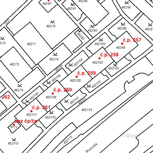 Katastrální mapa Stavební objekt Frýdek 259, Frýdek-Místek