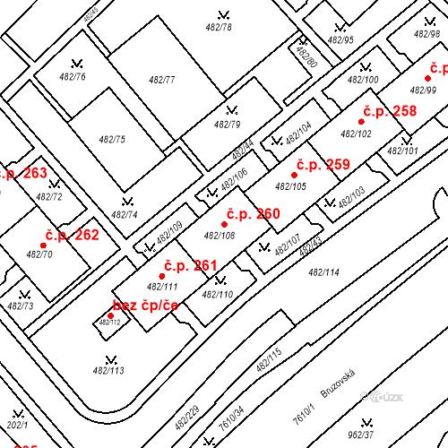 Katastrální mapa Stavební objekt Frýdek 260, Frýdek-Místek