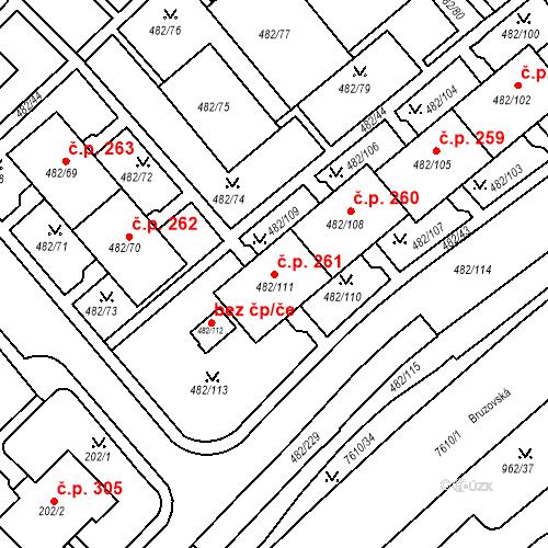 Katastrální mapa Stavební objekt Frýdek 261, Frýdek-Místek