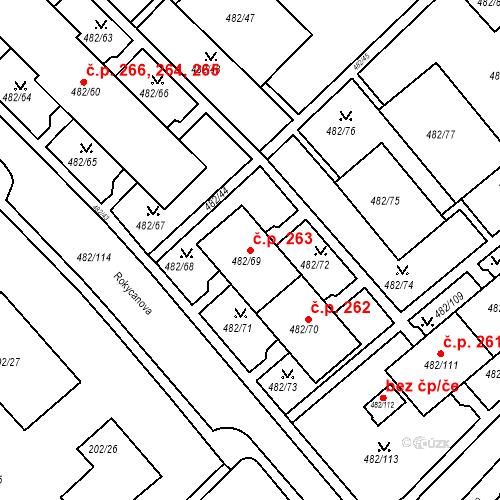 Katastrální mapa Stavební objekt Frýdek 263, Frýdek-Místek