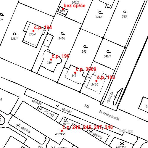 Katastrální mapa Stavební objekt Frýdek 191, Frýdek-Místek