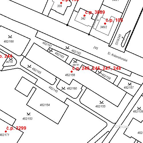 Katastrální mapa Stavební objekt Frýdek 245, 246, 247, 248, Frýdek-Místek