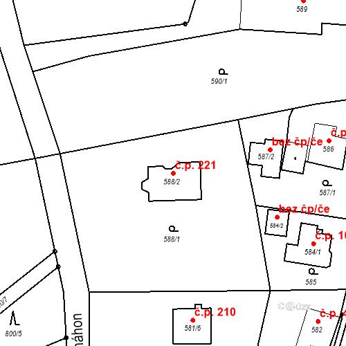 Katastrální mapa Stavební objekt Pržno 221, Pržno