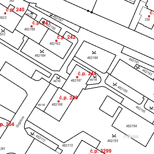Katastrální mapa Stavební objekt Frýdek 244, Frýdek-Místek