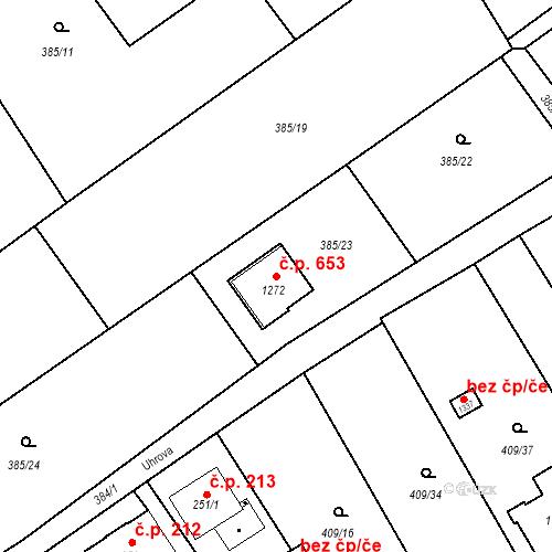 Katastrální mapa Stavební objekt Heřmanice 653, Ostrava