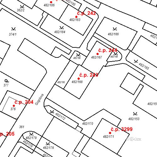 Katastrální mapa Stavební objekt Frýdek 243, Frýdek-Místek