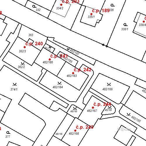 Katastrální mapa Stavební objekt Frýdek 242, Frýdek-Místek