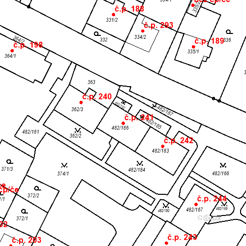Katastrální mapa Stavební objekt Frýdek 241, Frýdek-Místek