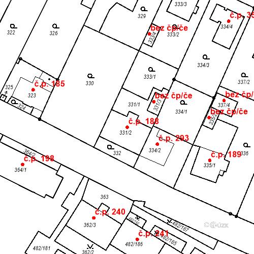 Katastrální mapa Stavební objekt Frýdek 188, Frýdek-Místek
