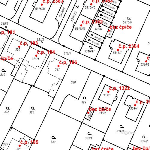 Katastrální mapa Stavební objekt Frýdek 187, Frýdek-Místek