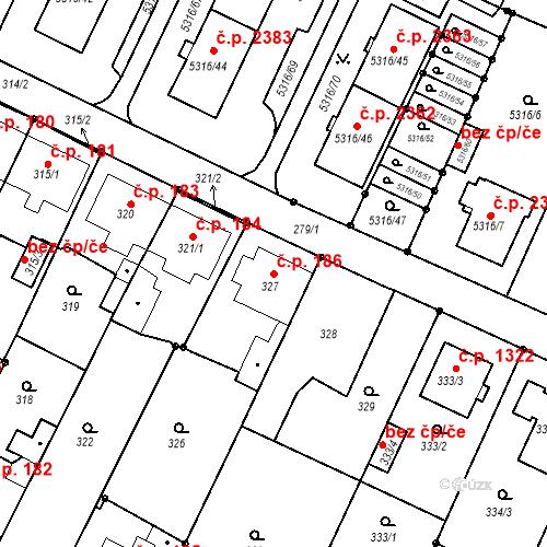 Katastrální mapa Stavební objekt Frýdek 186, Frýdek-Místek