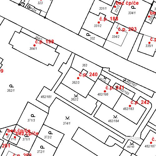 Katastrální mapa Stavební objekt Frýdek 240, Frýdek-Místek