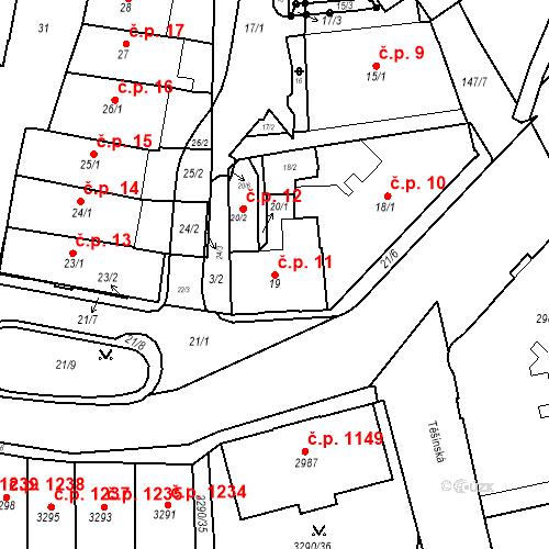 Katastrální mapa Stavební objekt Frýdek 11, Frýdek-Místek