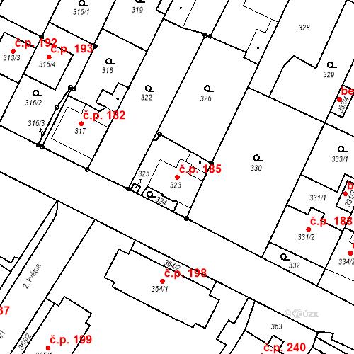 Katastrální mapa Stavební objekt Frýdek 185, Frýdek-Místek