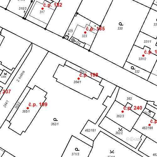 Katastrální mapa Stavební objekt Frýdek 198, Frýdek-Místek