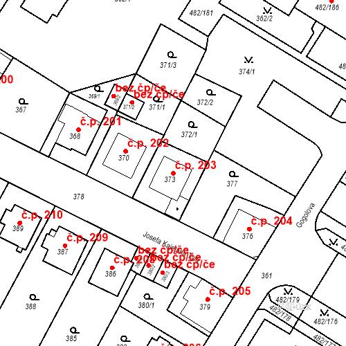 Katastrální mapa Stavební objekt Frýdek 203, Frýdek-Místek