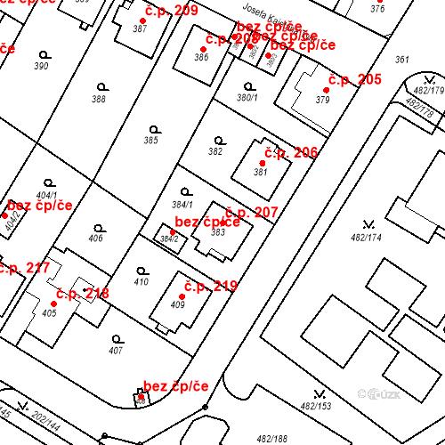 Katastrální mapa Stavební objekt Frýdek 207, Frýdek-Místek