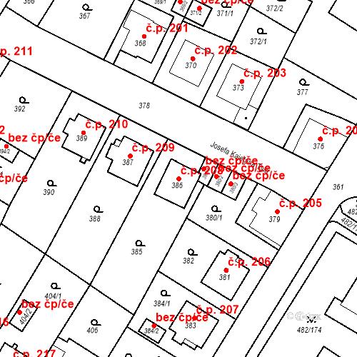 Katastrální mapa Stavební objekt Frýdek 208, Frýdek-Místek