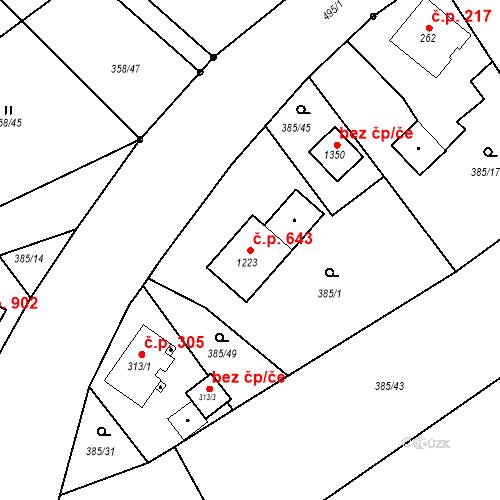 Katastrální mapa Stavební objekt Heřmanice 643, Ostrava