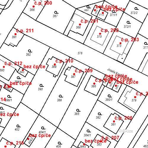 Katastrální mapa Stavební objekt Frýdek 209, Frýdek-Místek