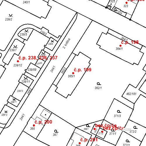 Katastrální mapa Stavební objekt Frýdek 199, Frýdek-Místek
