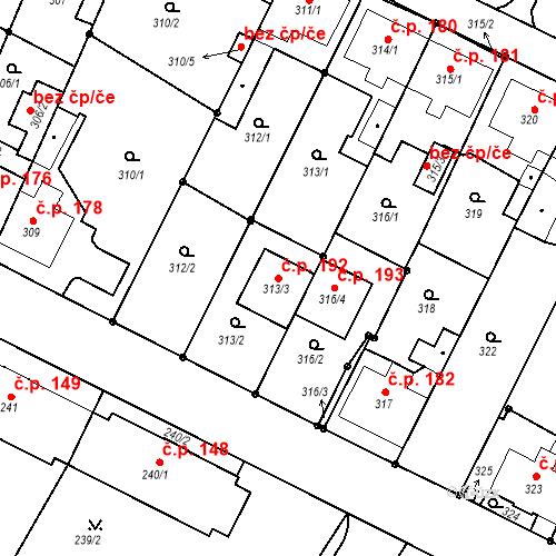 Katastrální mapa Stavební objekt Frýdek 192, Frýdek-Místek