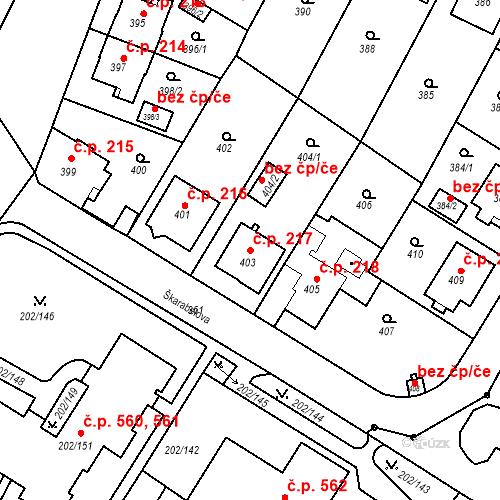 Katastrální mapa Stavební objekt Frýdek 217, Frýdek-Místek