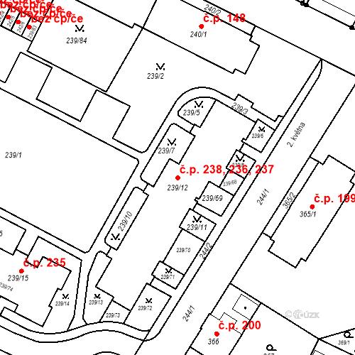Katastrální mapa Stavební objekt Frýdek 236, 237, 238, Frýdek-Místek