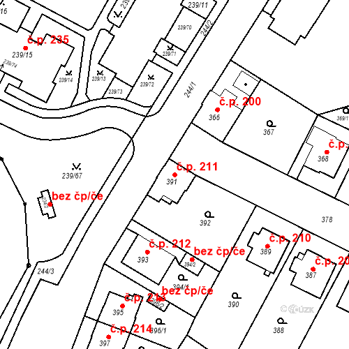 Katastrální mapa Stavební objekt Frýdek 211, Frýdek-Místek