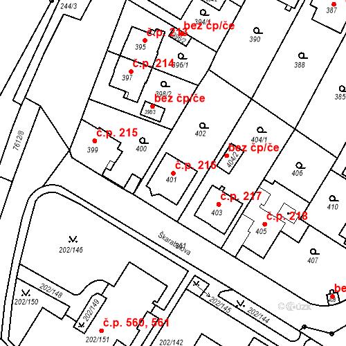 Katastrální mapa Stavební objekt Frýdek 216, Frýdek-Místek