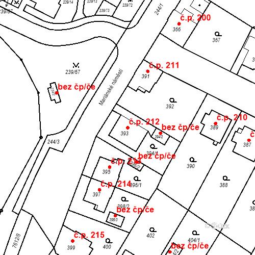 Katastrální mapa Stavební objekt Frýdek 212, Frýdek-Místek