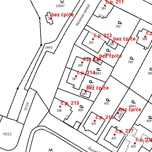 Katastrální mapa Stavební objekt Frýdek 214, Frýdek-Místek