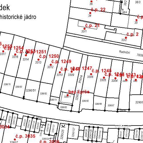Katastrální mapa Stavební objekt Frýdek 1247, Frýdek-Místek