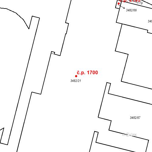 Katastrální mapa Stavební objekt Místek 1700, Frýdek-Místek