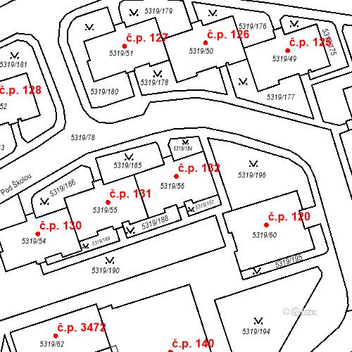 Katastrální mapa Stavební objekt Frýdek 132, Frýdek-Místek