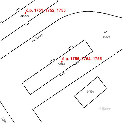 Katastrální mapa Stavební objekt Místek 1754, 1755, 1756, Frýdek-Místek