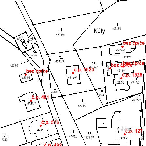 Katastrální mapa Stavební objekt Frýdlant 1623, Frýdlant nad Ostravicí