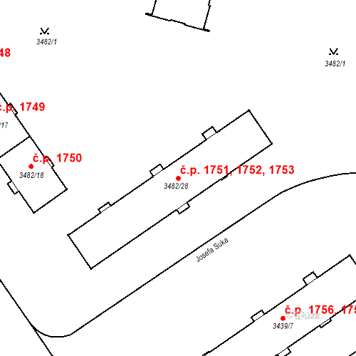 Katastrální mapa Stavební objekt Místek 1751, 1752, 1753, Frýdek-Místek
