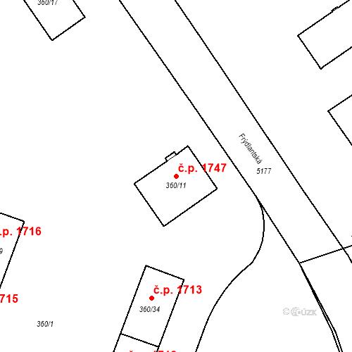 Katastrální mapa Stavební objekt Místek 1747, Frýdek-Místek