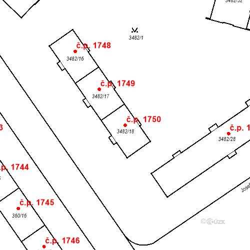 Katastrální mapa Stavební objekt Místek 1750, Frýdek-Místek