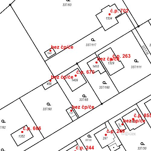 Katastrální mapa Stavební objekt Heřmanice 670, Ostrava