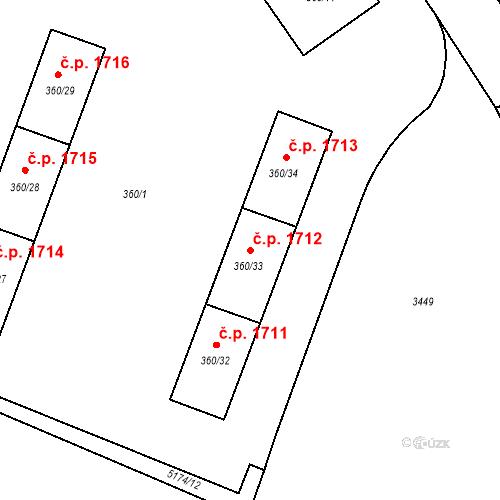 Katastrální mapa Stavební objekt Místek 1712, Frýdek-Místek