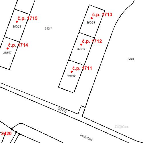 Katastrální mapa Stavební objekt Místek 1711, Frýdek-Místek