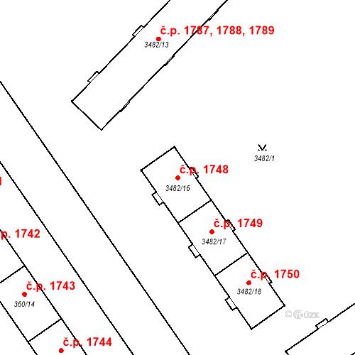 Katastrální mapa Stavební objekt Místek 1748, Frýdek-Místek
