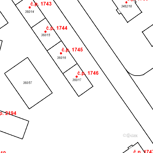 Katastrální mapa Stavební objekt Místek 1746, Frýdek-Místek